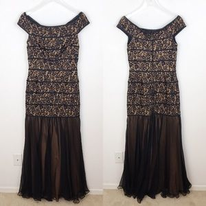 Tadashi Collection Nude Black Off Shoulder Gown 6